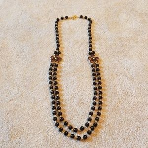 Talbots black bead necklace with flowers